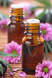 Aromatherapy bottles with pink flowers