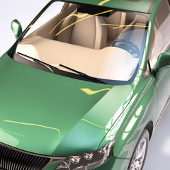 luxury green car close-up studio style 3d illustration