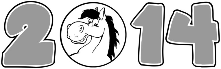 2014 Year Cartoon Numbers With Horse Face Over A Circle In Gray