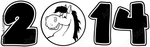 2014 Year Cartoon Numbers With Horse Face Over A Circle