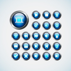 Set of media icon, buttons