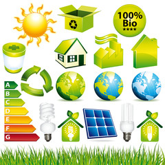 Ecology and renewable energy icons set.