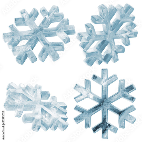 Set of Icy Snowflakes isolated on white background