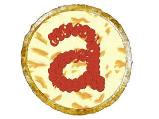 3D Pepperoni Pizza Golden Crust Top View Alphabet A Small