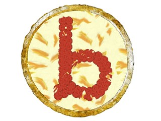 3D Pepperoni Pizza Golden Crust Top View Alphabet B Small