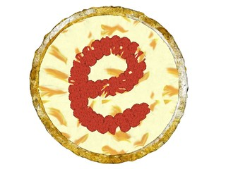 3D Pepperoni Pizza Golden Crust Top View Alphabet E Small