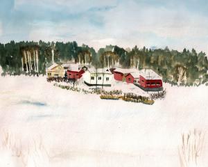 Finland village watercolor