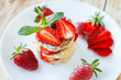 pieces of strawberry curd pancake on