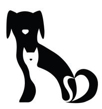 Lustiger Hund und Katze Silhouetten Zusammensetzung