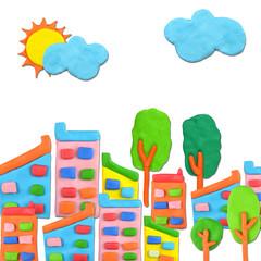 Social City concept made from plasticine