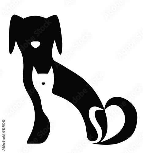 Funny dog and cat silhouettes composition