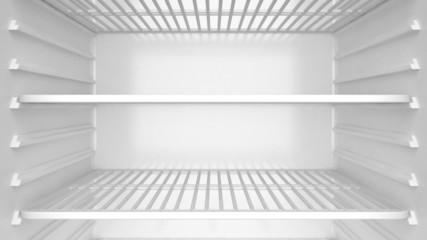 Empty white refrigerator