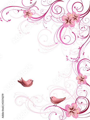 Birds and floral elements