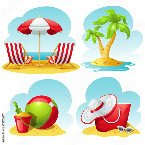 beach icon set - 53376407