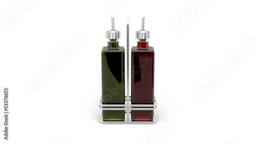 Olive oil and vinegar rotates on white background