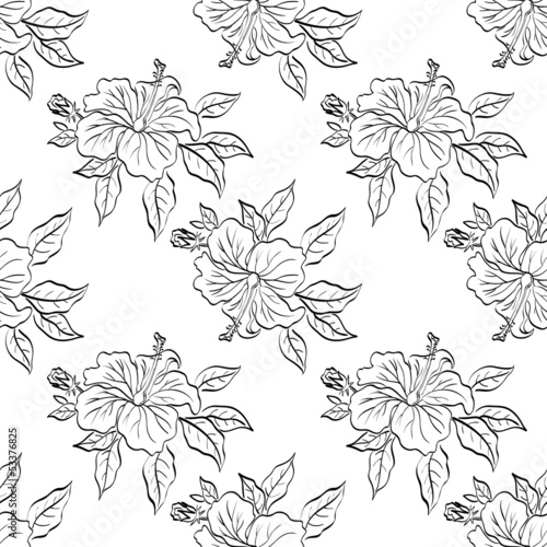 Seamless floral background, outline