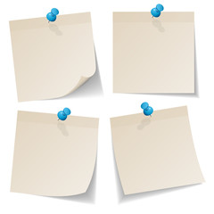 4 Beige Stick Notes Blue Pins
