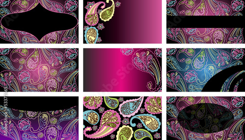 Business cards with colored paisley pattern