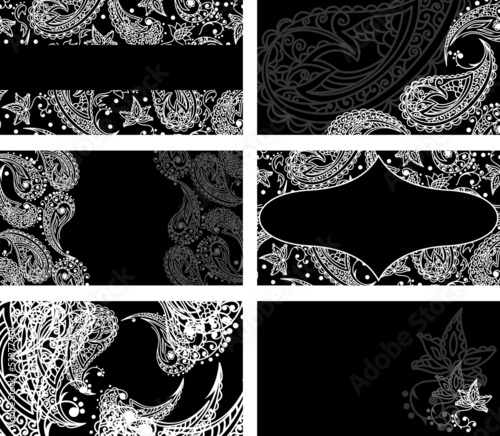 Business cards with black and white paisley pattern