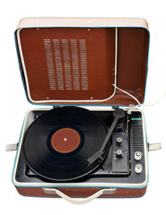 Old portable turntable. Clipping path included.