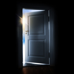 Opening white door with light outside