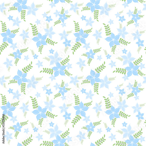 The seamless pattern of blue blossoms.