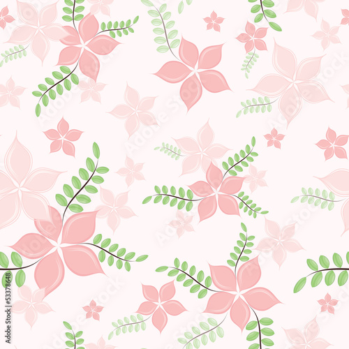 Seamless background with pink petals.