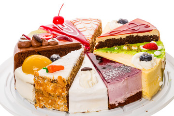 Different pieces of cake on white