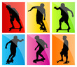 Skateboarder silhouette set vector background