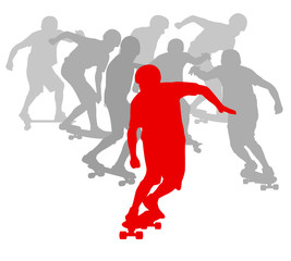Skateboarder winner in front of crowd vector background