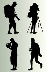 Cameraman silhouette vector background set