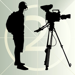 Cameraman silhouette vector background and film countdown number