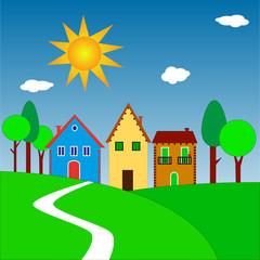 illustrazione di case su colline con sole splendente
