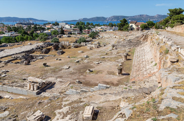 View of Telesterion, ancient Eleusis, Attica, Greece
