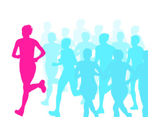 Women marathon winner finish vector background and group of runn