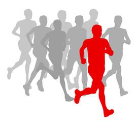Men marathon winner finish vector background and group of runner
