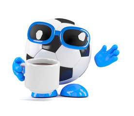 3d Football relaxes with a cuppa