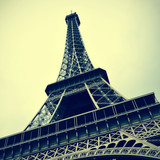Eiffel Tower in Paris, France with a retro effect