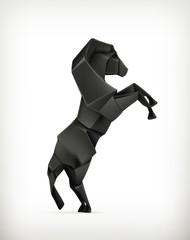 Black paper horse, origami