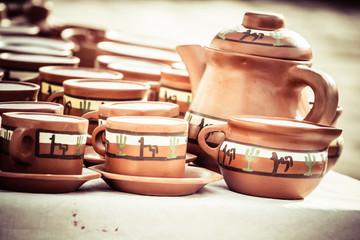 Ceramic in local market in Peru, South America.