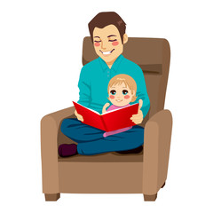 Dad and Daughter Reading