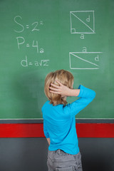 Confused Little Boy Looking At Board