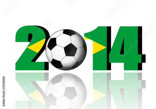 2014 With Flag of Brazil.-  3d image