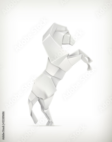 White paper horse, origami