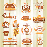 Set of bakery design elements (color variant)