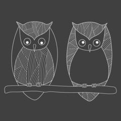Cartoon owls line art. Vector illustration
