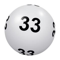 Loto, boule blanche numéro 33