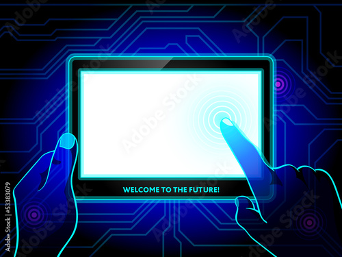 Futuristic tablet in human hands concept