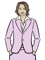 Junge Frau Ira im rosa Kostüm mit Händen in den Hosentaschen