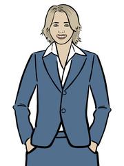 Junge Frau Ira im blauen Kostüm mit Händen in den Hosentaschen